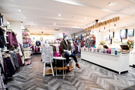 Joules, Flooring, Womens wear, Footwear, Clothing Displays, Counter, Till, Lighting, Manequins