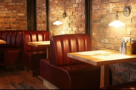Our first project for the Richoux group saw us transforming the former restaurant into a new concept American Diner. Booth Seating, Ambience Lighting