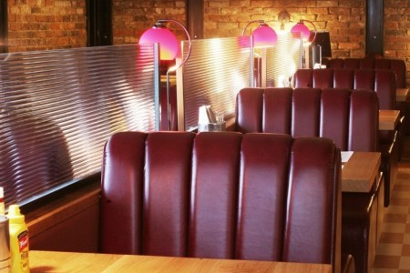 Our first project for the Richoux group saw us transforming the former restaurant into a new concept American Diner. Booth Seating, Leather