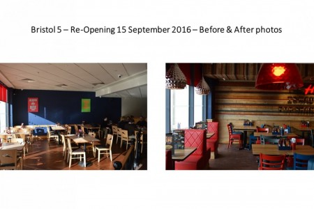 Before and after photos of recently refurbished Pizza Hut, Aspects Leisure Park, Bristol