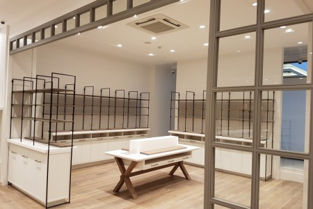 Recently completed - The White Company in Bluewater Shopping Centre, Kent. Woodwork, Interior