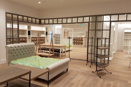 Recently completed - The White Company in Bluewater Shopping Centre, Kent. Interior, Bedroom