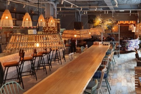 Megans, Islington Square, London, Interior, Lampshades, Macrame, Long Table, Joinery