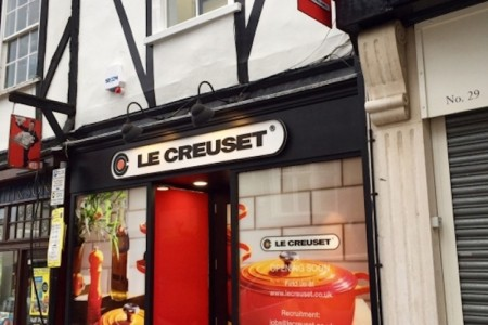 Recently completed - Le Creuset, St Albans at 27 Market Place.  Oakwoods worked with Listed Building Officers, Archaeologists and had asbestos removal carried out on this Grade 2 Listed  Building. Shopfront