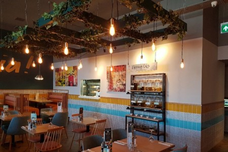 Prezzo have opened a fresh new look restaurant on Central Walk, Weston Super Mare, Feature Wall