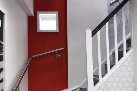 Le Creuset, Marylebone, Shop, interior, shopfitting, joinery, Stairwell