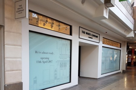 Recently completed - The White Company in Bluewater Shopping Centre, Kent. Shopfront, Mall Flooring